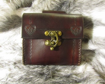 Customizable Your Choice of Small Decorative Stamp, Small Leather Belt Bag / Pouch Medieval, Bushcraft, LARP, SCA, Costume, Ren Faire