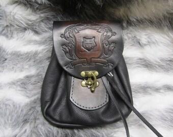 Customizable Medium Sporran Design Leather Belt Bag / Pouch Medieval, Bushcraft, LARP, SCA, Costume, Ren Faire