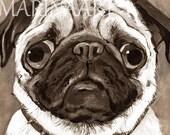 Pug Print, Pug Art, PUG LIFE,Vintage Style,Pug Lover,Custom order, Marina art,Animal Painting,Original Acrylic,Sepia,Cute Boy,Cute Gift