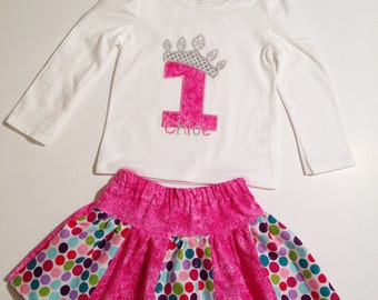 Personalized Birthday Princess Stripwork Skirt Set