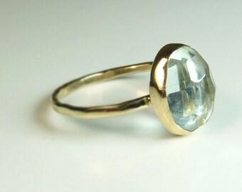 Aquamarine and recycled 14K Gold Ring, Rose Cut Aquamarine, Handmade Engagement Ring, December Birthstone
