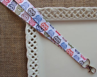 Fabric Lanyard - Winter Owls on White