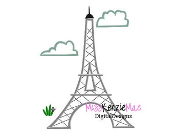 Paris Eiffel Tower Machine Applique Embroidery Design, Mulitple Sizes