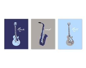 Guitar Nursery Decor, CANVAS Art, Baby boy nursery, Kids Wall Art, Home decor, boy bedroom art blue, gray, navy triptyh by YassisPlace