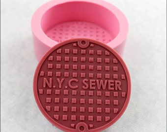 Manhole Cover Industrial Steampunk Mold Soap Resin Polymer Clay Fondant Chocolate Candy (357)
