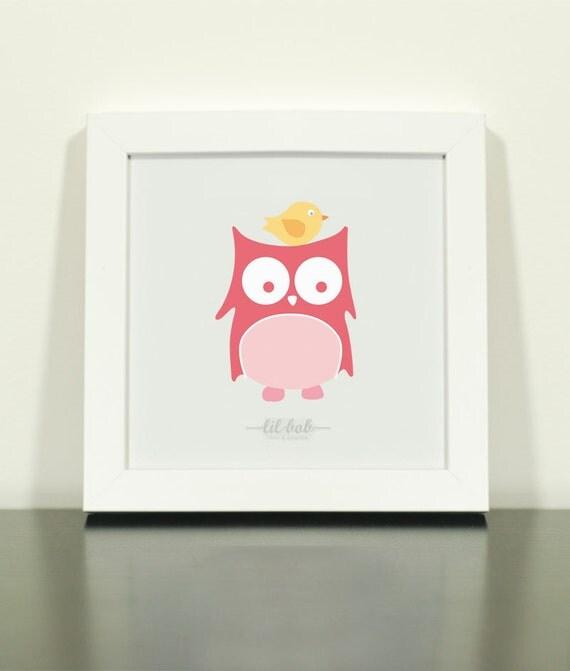 Owl & Bird Print