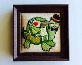 Framed Needlepoint Turtle in a Tophat