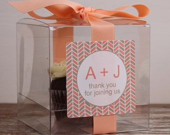 8 - Wedding Favor Cupcake Boxes - Herringbone Design - ANY COLOR-wedding favors, party favors, wedding cupcake box, personalized cupcake box