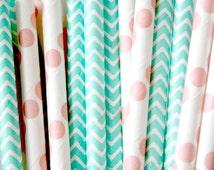 Paper Straws . Coral Dot Mint Chevron . bridal shower decorations / mason jar buffet table / wedding party decor