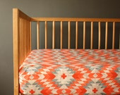 AZTEC baby bedding -tribal coral crib sheet - gender neutral tribal nursery- coral baby bedding- crib fitted sheet- etsy baby bedding