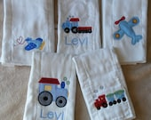Personalized Planes and Trains Burp Cloth Set