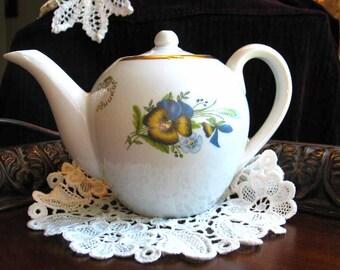 Teapot, Vintage Tea Pot, China with Pansies,  Hukom, Vintage Tea, Japanese Pottery 1817