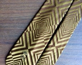 Vintage Men's Neck Tie Narrow Mid Century Funky Brown and Gold Optical Illusion by Countess Ware New York Florence Italy