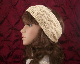 Hand knit headband, head wrap, ear warmer - warm beige - womens accessories winter accessories ready to ship