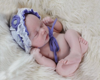 newborn Photo prop ruffle bonnet  girl  photography RTS OOAK