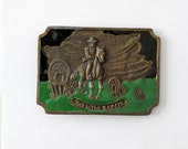 vintage brass and enamel buckle, western John Wayne Tall in the Saddle