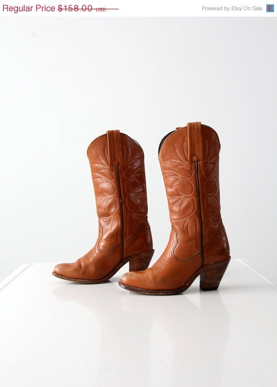 vintage frye cowboy boots high heel western boots by