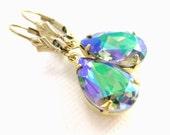 Swarovski crystal earrings Green purple jewelry Prism earrings Rainbow Bridesmaid gift earrings Glass teardrop earrings Valentines day gift