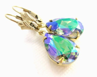 Swarovski crystal earrings Green purple jewelry Prism earrings Rainbow Bridesmaid gift earrings Glass teardrop earrings Mothers day gift