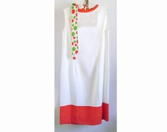1960s MOD orange and white  dress