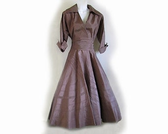 1940s R&K New Look Brown Taffeta Swing skirt / Nightclub, Coco Cabanna / Lucy and Desi / dance dress