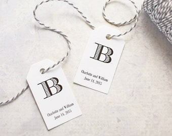 Monogram Tags, Personalized Gift Tag, Wedding Favor Tag, Party Favor Tag, Bridal Shower Favor Tag, Initial Tag - Set of 25 (SMGT - CHV)