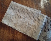 Vintage  Fine Lace  with cherries and leaves    details  crochet Lace