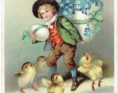 A Very Happy Easter to You Antique Postcard 1910 Young boy with chicks