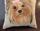 Yorki Lovers take home this hand painted pillow.