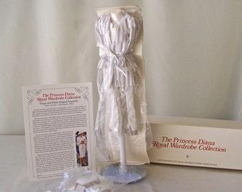Vintage Princess Diana Royal Wardrobe Collection Taupe & White Striped Ensemble DDU 14 NIB Danbury Mint Fits 14 Inch Doll 1980s