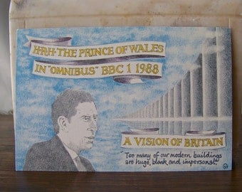 Vintage Prince of Wales Postcard 1988 A Vision of Britain Prince Charles Omnibus BBC 1 1988