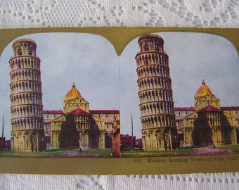 Antique Stereoview Card Leaning Tower of Pisa Italy Colorized Stereograph Photo Stereoscope Card Famous Landmark circa 1900