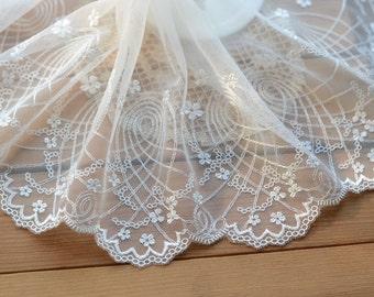 Vintage Lace Trim -2.5 Yards White Embroidery Lace Trim (L505)
