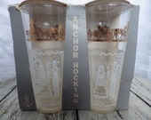 Set of two Anchor Hocking Tumblers FK Modern Tulip Pyrex Butterprint Mint in Package!
