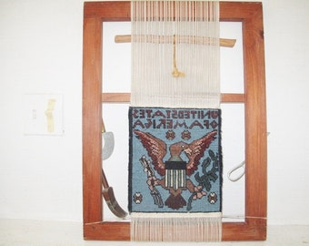 Rug Loom from Afghanistan with Eagle and United States of America Woven on it