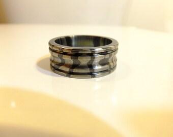 Titanium and Black Zirconium Mixed Metal Mokume Wedding Ring