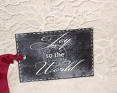 Chalkboard is all The Rage! Joy to the World Gift Tag Chalkboard Decor Style Christmas Gift Tags Christmas Gift Chalkboard Gift Tag