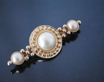 80s Vintage Gold Metal Pearl Brooch