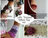 Crochet PDF Pattern Discount Pack - #14 PDF Patterns,crocheted bohemian bracelet, cuff, wrist warmers, boho bracelet, crochet rose, vines
