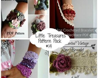 Crochet PDF Pattern Discount Pack - #14 PDF Patterns,crocheted bohemian bracelet, cuff, wrist warmers, boho bracelet, crochet rose, vines