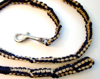 Black and Beige/Gold  Macrame  5' Leash