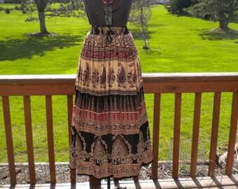 Vintage Gauze Hippie Woodstock Drawstring Skirt