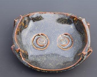 Handmade Ceramic Decorative Dark Espresso Brown with Gold Flecking Spoon Rest and Soap Dish Dark Temmoku Key Dish