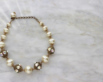 50s 60s Pearl Gold Rhinestone Choker Necklace