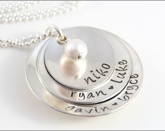 Personalized Stacked Grandma Necklace | Grandma Pearl Necklace, Sterling Silver Name Necklace, Custom Gifts for Grandma, Grandma Jewelry