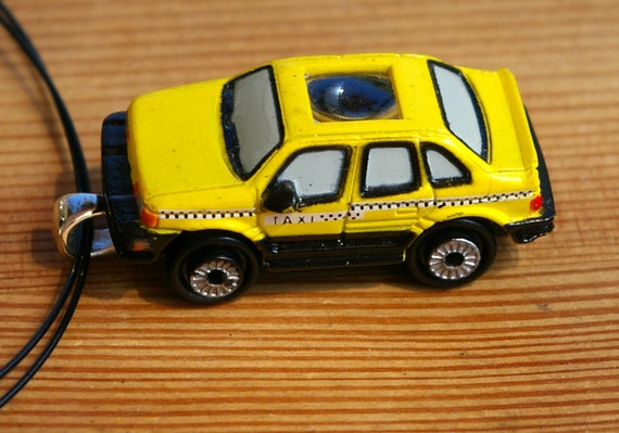 Yellow Cab Micro Machine Car Pendant