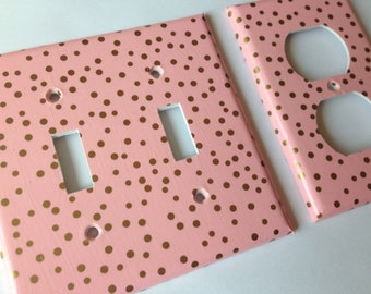 Gold Pink Polka Dots Double Light Switch Plate Cover Outlets / Gold Home Decor / Gold Pink Bedroom Decor / Gold Nursery Decor Metallic Gold