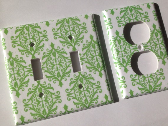 Green and White Damask Chic Double Light Switch Plate Covers / Green and White Home Decor / Green Bathroom Decor/ Green Nursery Decor