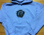Hand screen printed equine hoodie, size adult med