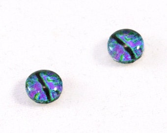 8mm Purple and Green Dragon Glass Eye Cabochons - Taxidermy Eyes for Doll or Jewelry Making - Set of 2